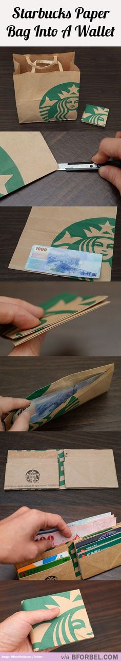 Turning A Starbucks Paper Bag Into A Wallet…