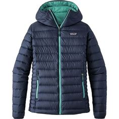 From late-fall belays to powder-filled days, the figure-flattering Women's Down Sweater Full-Zip Hooded Jacket from Patagonia slips under a wind-blocking vest or a weatherproof shell and acts as a warming midlayer. It also packs up small for travel and works as a top layer for Chicago shopping forays. Down insulation packs a powerful punch of heat without weighing heavily on your shoulders or taking up any more space than, say, your Jack Russel terrier.