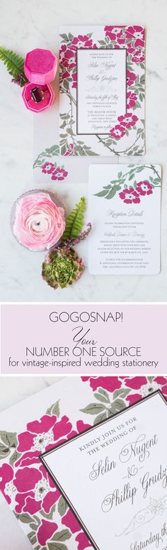 """Vintage Wedding Invitations from GoGoSnap! Set the tone of your wedding with this vintage-inspired floral design. The sky is the limit with the color palette. Bright and poppy or cool and serene... the choice is yours! These invitations can accommodate your custom wording and color palette! Available in full wedding suite, save the dates and """"day of"""" stationery.  Photography by Marisa Peterson Wedding Invitation Trends, Vintage Wedding Invitations, Wedding Stationery, Invitation Ideas, Vintage Numbers, Splash Page, Wedding Suite, Vintage Romance, Save The Date"""