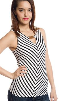 Date with Diagonals Sleeveless Striped Top - Black from Line Up at Lucky 21