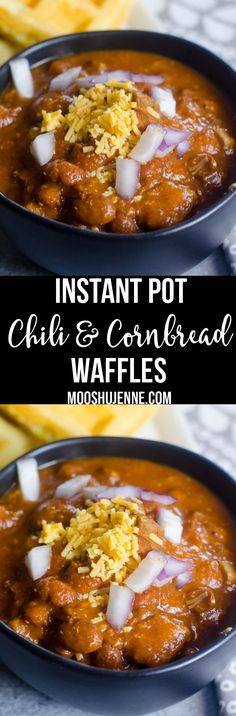 Instant Pot Chili with Cornbread Waffles super easy instant pot dinner and can work in any pressure cooker. Made with stewed beef not ground!  via @mooshujenne