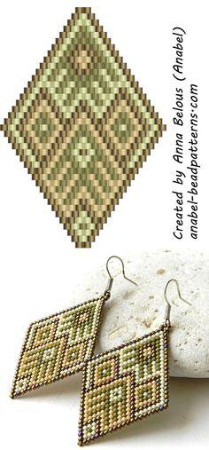 Схема серег-ромбов из бисера - мозаичное плетение - peyote earrings pattern: