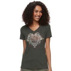 Women's Graphic V-Neck Tee, Size: Medium, Med Green