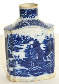 Antique Chinese Finely Painted Quality 1800's Porcelain Blue & White Tea Caddy