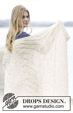 "Knitted DROPS blanket in garter st with textured pattern in ""Cloud"". ~ DROPS Design"