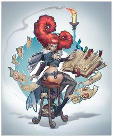 Girl mag, Alexandr Pechenkin on ArtStation at https://www.artstation.com/artwork/girl-mag