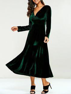 1d50a9b10a Empire Waist Velvet V-Neck A-Line Dress. Velvet Dress UkSleeve DressesLong  ...