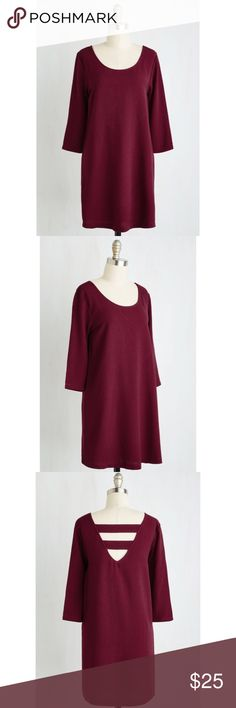 Back to Basics Dress - Jack by BB Dakota NWT (editing later to see if this brand comes with tags). Never worn! Beautiful burgundy color is perfect for fall tones. Would look great dressed up or down! ModCloth Dresses