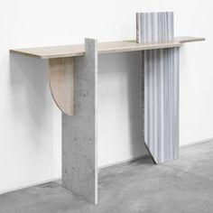 Robert Stadler combines construction materials in sculptures for Paris exhibition.