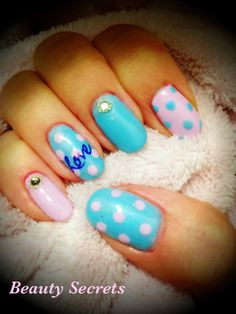 Pink and Blue 'love' nails