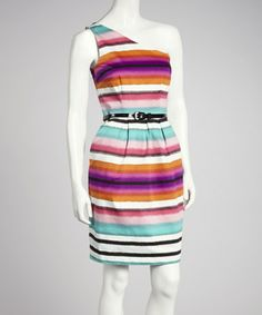 Take a look at this Soft White & Teal Stripe Belted Asymmetrical Dress by London Times on #zulily today!