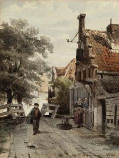 Great Paintings, Beautiful Paintings, Winter Landscape, Landscape Art, Amsterdam, Watercolor Architecture, Perspective Art, City Painting, Cottage Art