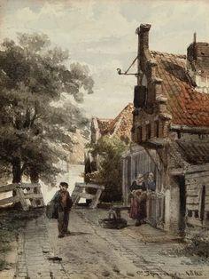 Cornelis Springer – straatje in Enkhuizen. Overzichtstentoonstelling 'Door het oog van Springer' in Zuiderzeemuseum, Enkhuizen. Februari 2016.