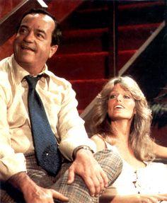 David Doyle with Farrah Fawcett-Majors of Charlie's Angels.