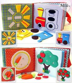 fun ideas for a quiet book by dandelionhouse Diy Quiet Books, Baby Quiet Book, Felt Quiet Books, Baby Crafts, Felt Crafts, Crafts For Kids, Sewing Projects, Craft Projects, Sensory Book