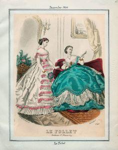 In the Swan's Shadow: Le Follet December 1865  Civil War Era Fashion Plate