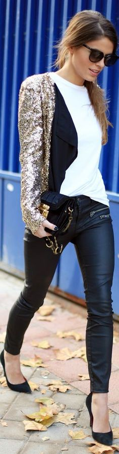 wet look leggings, BD shoes, white blouse, black cardi, sequin jacket.