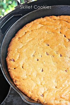 Skillet cookies are perfect for cooking on the grill when camping or baking at home for an easy, delicious dessert! // addapinch.com
