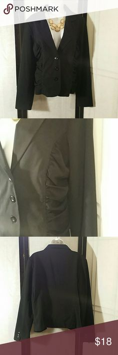 NWOT * Jacket Blazer * Beautiful * Black * Side Ruching * Long Sleeve * 3 Button * Lining * Polyester, Rayon and Spandex * Bundle and Save * AB Studio Jackets & Coats Blazers