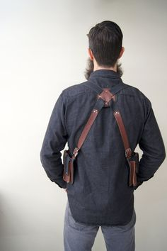Brown and black leather holster bags/ western by RevivallClothing