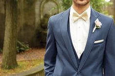 The slate blue tux is on the rise. A dapper addition to your wedding party. @weddingwire