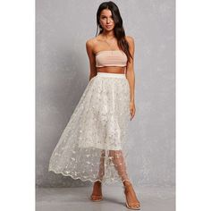 Forever21 Floral Detail Organza Skirt ($48) ❤ liked on Polyvore featuring skirts, white, forever 21, sheer skirt, scalloped skirt, forever 21 long skirts and long sheer skirt
