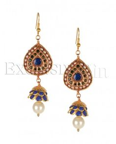 #Exclusivelyin, #IndianEthnicWear, #IndianWear, #Fashion, Almond Drop Earrings With Blue Jhumkis