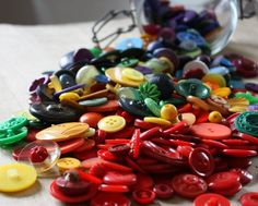 rainbow in a jar, vintage buttons ...