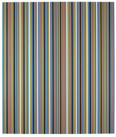 Bridget Riley, Après Midi, Oil on linen, 91 x 77 inches x cm), Private collection Striped Nursery, Striped Walls, Bridget Riley Artwork, Lilac Painting, Lights Artist, Small Study, Black And White Painting, Colour Field, National Portrait Gallery