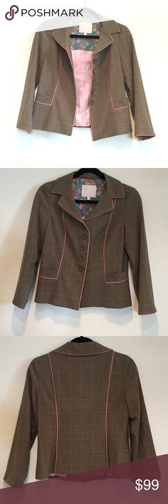 Size 6 Rebecca Taylor Blazer Suit Jacket This is a perfect jacket for the office! This size 6 Rebecca Taylor blazer suit jacket is beautifully made & features a brown plaid throughout with pink piping details & lining inside. Looks great buttoned up or open. In excellent condition! Rebecca Taylor Jackets & Coats Blazers