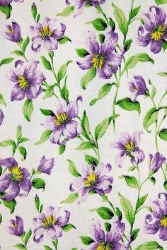 Blue Cream Back Ground PolyCotton Fabric Country folk art Wild Flowers in Pink