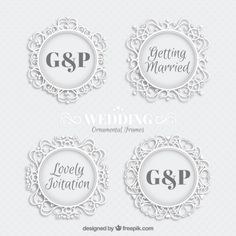 Ornamental white wedding badges Free Vector