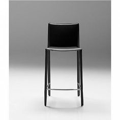 Zak Leather Stool-Stainless Steel : Parc Modern      KM: I really like these lines......