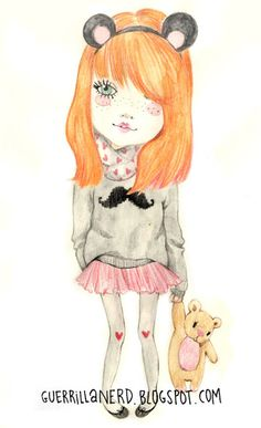 Virginia Alvarez, guerrilla nerd cute for illustrating kids clothes