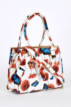 Patent Butterfly And Poppy Print Handbag White