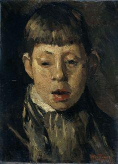 Willem de Zwart | Jongenskop, Willem de Zwart, c. 1880 - c. 1890 | Kop van een jongen, van voren gezien, de blik naar beneden gericht.