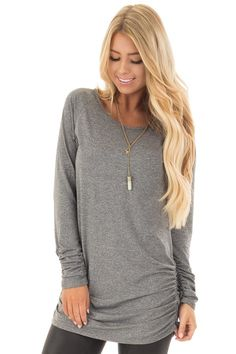 Cement Grey Tunic Top with Gathered Sides and Cuffs