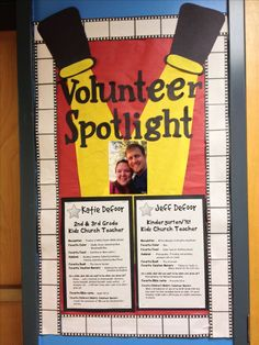 volunteer spotlight board for our children's ministry Volunteer Appreciation Gifts, Volunteer Gifts, Employee Appreciation, Volunteer Ideas, Spotlight Bulletin Board, Church Ministry, Kids Ministry, Ministry Ideas, Volunteer Management