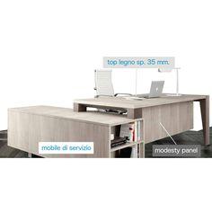 GO02 - scrivania angolare linea GO mobile di servizio laterale ribassato con anta scorrevole e cassettiera interna.