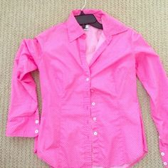 Lilly Pulitzer Pink Poca dot shirt. Last call Lilly Pulitzer Pink Poca dot shirt.Like new.Bought it here wore it once.Make an offer Lilly Pulitzer Tops