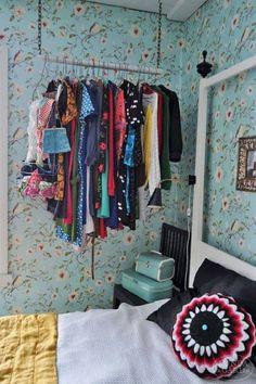 Storage And Organization , Good Storage Ideas For Small Spaces : Storage Ideas For Small Spaces Hanging Clothes Rack Closet Storage, Closet Organization, Wardrobe Storage, Storage Room, Organization Ideas, Closet Minimalista, Bedroom Hacks, Bedroom Ideas, Bedroom Decor