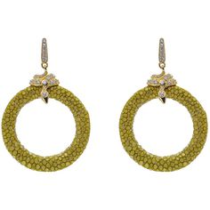 Latelita London - Stingray Medium Hoop Earring Kiwi ($391) ❤ liked on Polyvore featuring jewelry, earrings, star earrings, snake earrings, leather jewelry, sparkle jewelry and sparkly earrings