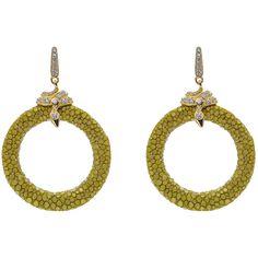Latelita London - Stingray Medium Hoop Earring Kiwi (700 BAM) ❤ liked on Polyvore featuring jewelry, earrings, sparkly earrings, leather earrings, star jewelry, pave jewelry e star hoop earrings