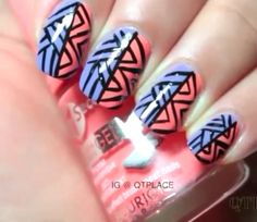 Purple and pink chevron manicure