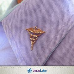 Medical Symbol Caduceus Doctor Accessories Nurse Pin Brooch Jewellery RN gift MD Therapist Sterling silver with Gold plated Original gift Pharmacy Gifts, Medical Gifts, Nurse Gifts, Doctors Office Decor, Angel Wings Jewelry, Nursing Pins, Dental Logo, Medical Symbols, Pin Logo