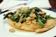 Broccoli rabe and white bean chicken parmesan