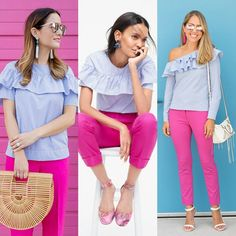 J's Everyday Fashion provides outfit ideas, budget fashion, shopping on a budget, personal style inspiration, and tips on what to wear. Pink Pants Outfit, Blue Pants Outfit, Summer Pants Outfits, Pink Outfits, Colourful Outfits, New Outfits, Light Pink Pants, Hot Pink Pants, Chicago Outfit