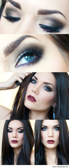 Dramatic makeup. Example of smokey eye with red lips