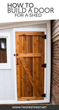Are you looking for a simple way to build a door? Maybe one with color? This is how to build a simple cedar shed door. shed design shed diy shed ideas shed organization shed plans Building A Door, Shed Building Plans, Building Design, Building Ideas, Wood Shed Plans, Coop Plans, Building Homes, Backyard Sheds, Outdoor Sheds