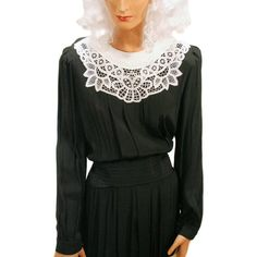 """""""Pure Temperance"""" 80s Dress Black White Lace Battenburg S from MorningGlorious"""